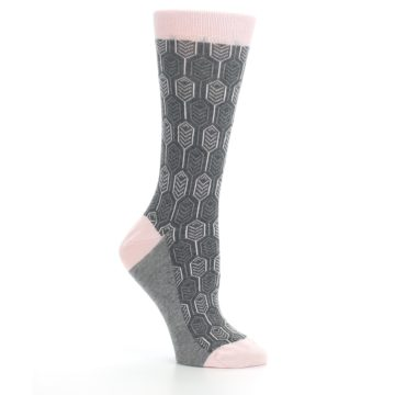 Image of Pink Gray Feather Optics Women's Dress Socks (side-1-26)