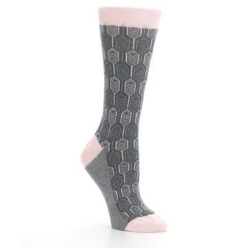 Image of Pink Gray Feather Optics Women's Dress Socks (side-1-27)
