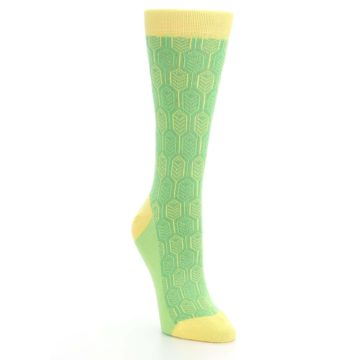 Image of Green Yellow Feather Optics Women's Dress Socks (side-1-front-02)