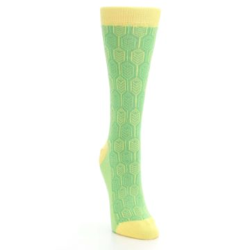 Image of Green Yellow Feather Optics Women's Dress Socks (side-1-front-03)