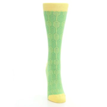 Image of Green Yellow Feather Optics Women's Dress Socks (front-04)