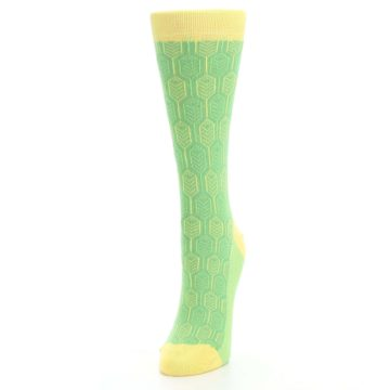 Image of Green Yellow Feather Optics Women's Dress Socks (side-2-front-07)