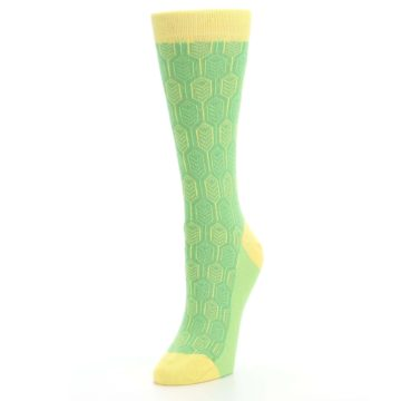 Image of Green Yellow Feather Optics Women's Dress Socks (side-2-front-08)