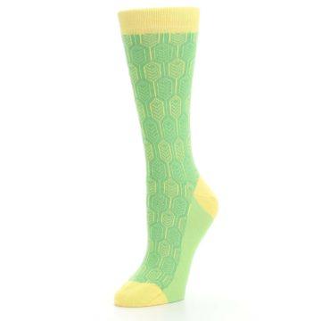Image of Green Yellow Feather Optics Women's Dress Socks (side-2-09)