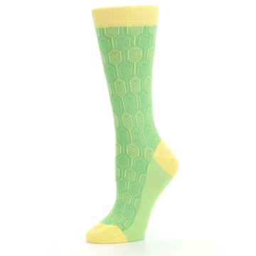 Image of Green Yellow Feather Optics Women's Dress Socks (side-2-10)