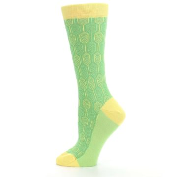Image of Green Yellow Feather Optics Women's Dress Socks (side-2-12)
