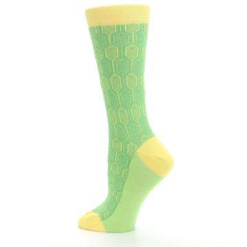 Image of Green Yellow Feather Optics Women's Dress Socks (side-2-13)
