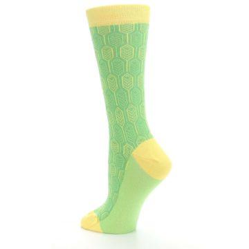 Image of Green Yellow Feather Optics Women's Dress Socks (side-2-back-14)