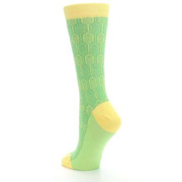 Image of Green Yellow Feather Optics Women's Dress Socks (side-2-back-15)
