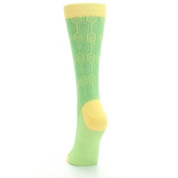 Image of Green Yellow Feather Optics Women's Dress Socks (back-17)