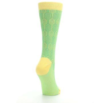 Image of Green Yellow Feather Optics Women's Dress Socks (side-1-back-21)
