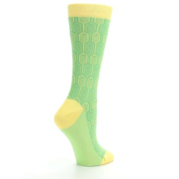 Image of Green Yellow Feather Optics Women's Dress Socks (side-1-23)
