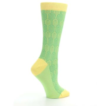 Image of Green Yellow Feather Optics Women's Dress Socks (side-1-24)