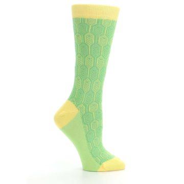 Image of Green Yellow Feather Optics Women's Dress Socks (side-1-25)