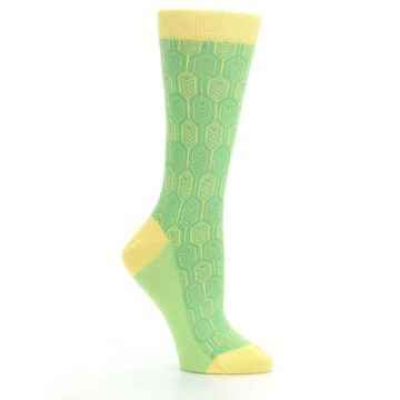 Image of Green Yellow Feather Optics Women's Dress Socks (side-1-26)
