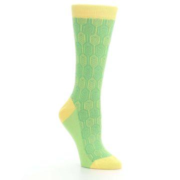Image of Green Yellow Feather Optics Women's Dress Socks (side-1-27)