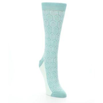 Image of Teal Feather Optics Women's Dress Socks – Statement Sockwear (side-1-front-02)