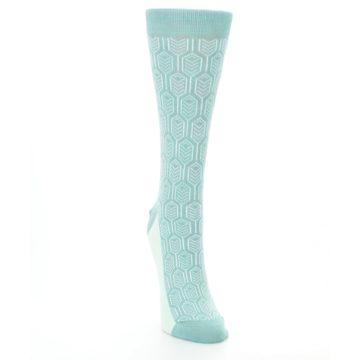 Image of Teal Feather Optics Women's Dress Socks – Statement Sockwear (side-1-front-03)