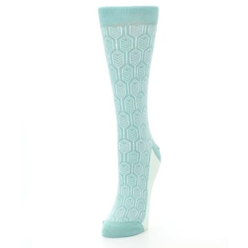 Image of Teal Feather Optics Women's Dress Socks – Statement Sockwear (side-2-front-07)