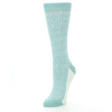 Image of Teal Feather Optics Women's Dress Socks – Statement Sockwear (side-2-front-08)