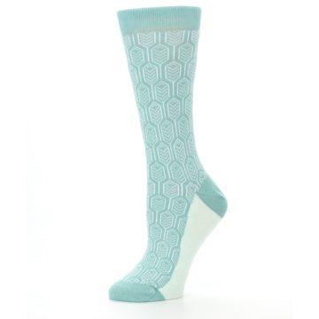 Image of Teal Feather Optics Women's Dress Socks – Statement Sockwear (side-2-10)