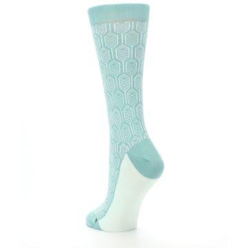 Image of Teal Feather Optics Women's Dress Socks – Statement Sockwear (side-2-back-15)