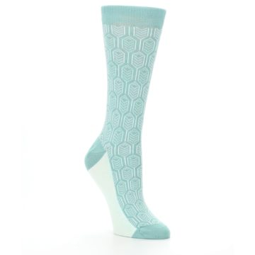 Image of Teal Feather Optics Women's Dress Socks – Statement Sockwear (side-1-27)