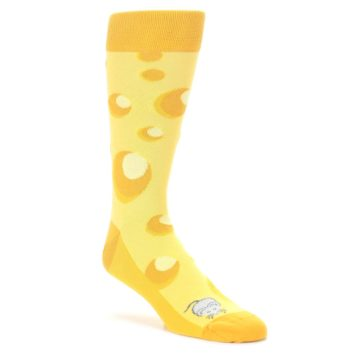 Yellow-Cheesy-Mouse-Mens-Dress-Socks-Statement-Sockwear