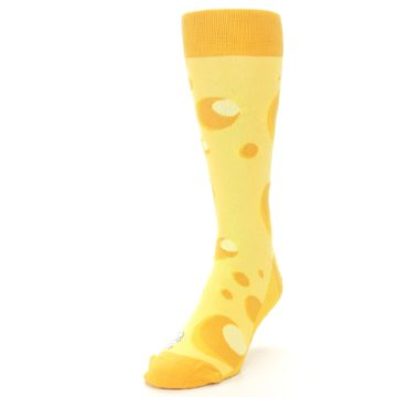 Image of Yellow Cheesy Mouse Men's Dress Socks (side-2-front-07)