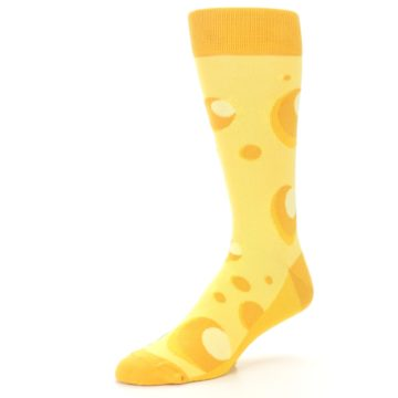 Image of Yellow Cheesy Mouse Men's Dress Socks (side-2-09)