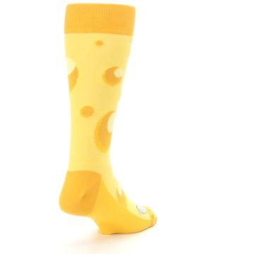 Image of Yellow Cheesy Mouse Men's Dress Socks (side-1-back-21)