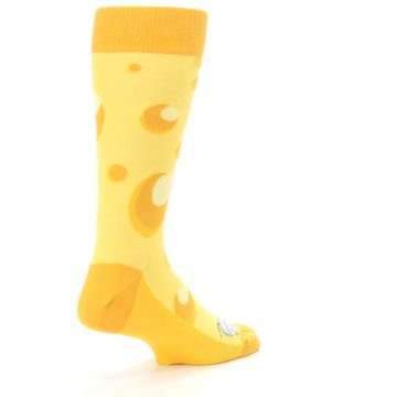 Image of Yellow Cheesy Mouse Men's Dress Socks (side-1-back-22)