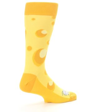 Image of Yellow Cheesy Mouse Men's Dress Socks (side-1-23)