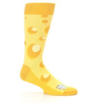 Image of Yellow Cheesy Mouse Men's Dress Socks (side-1-25)
