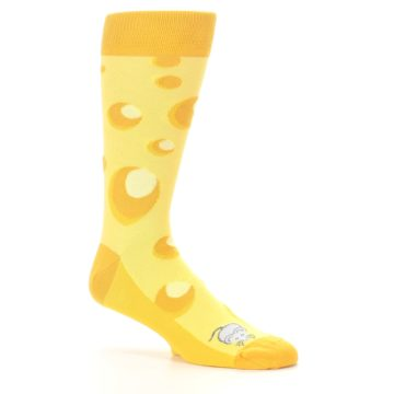 Image of Yellow Cheesy Mouse Men's Dress Socks (side-1-26)