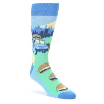 Blue-Food-Truck-Burgers-Mens-Dress-Socks-Statement-Sockwear