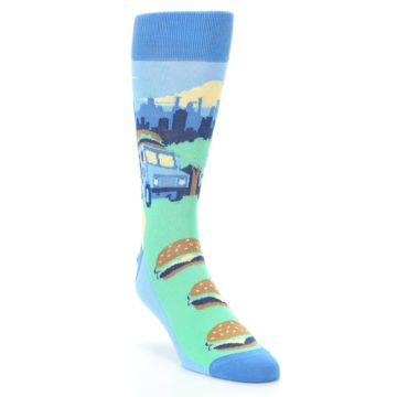 Image of Blue Food Truck Burgers Men's Dress Socks (side-1-front-02)