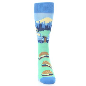 Image of Blue Food Truck Burgers Men's Dress Socks (front-04)
