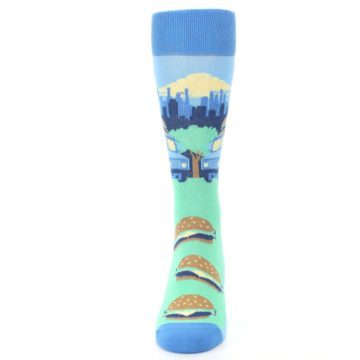 Image of Blue Food Truck Burgers Men's Dress Socks (front-05)