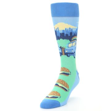 Image of Blue Food Truck Burgers Men's Dress Socks (side-2-front-07)