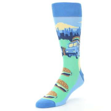 Image of Blue Food Truck Burgers Men's Dress Socks (side-2-front-08)