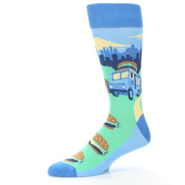 Image of Blue Food Truck Burgers Men's Dress Socks (side-2-10)