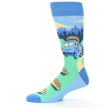 Image of Blue Food Truck Burgers Men's Dress Socks (side-2-11)