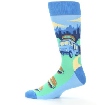 Image of Blue Food Truck Burgers Men's Dress Socks (side-2-12)