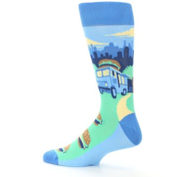 Image of Blue Food Truck Burgers Men's Dress Socks (side-2-13)