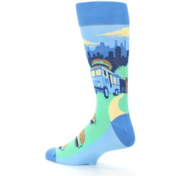 Image of Blue Food Truck Burgers Men's Dress Socks (side-2-back-14)