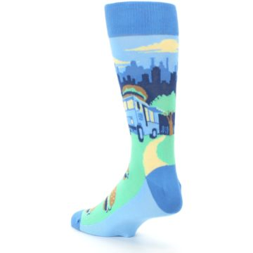 Image of Blue Food Truck Burgers Men's Dress Socks (side-2-back-15)