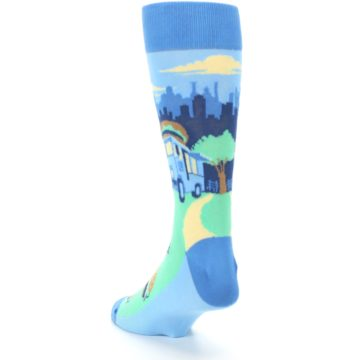 Image of Blue Food Truck Burgers Men's Dress Socks (side-2-back-16)