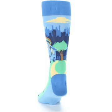 Image of Blue Food Truck Burgers Men's Dress Socks (back-17)