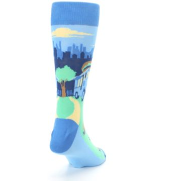 Image of Blue Food Truck Burgers Men's Dress Socks (side-1-back-20)